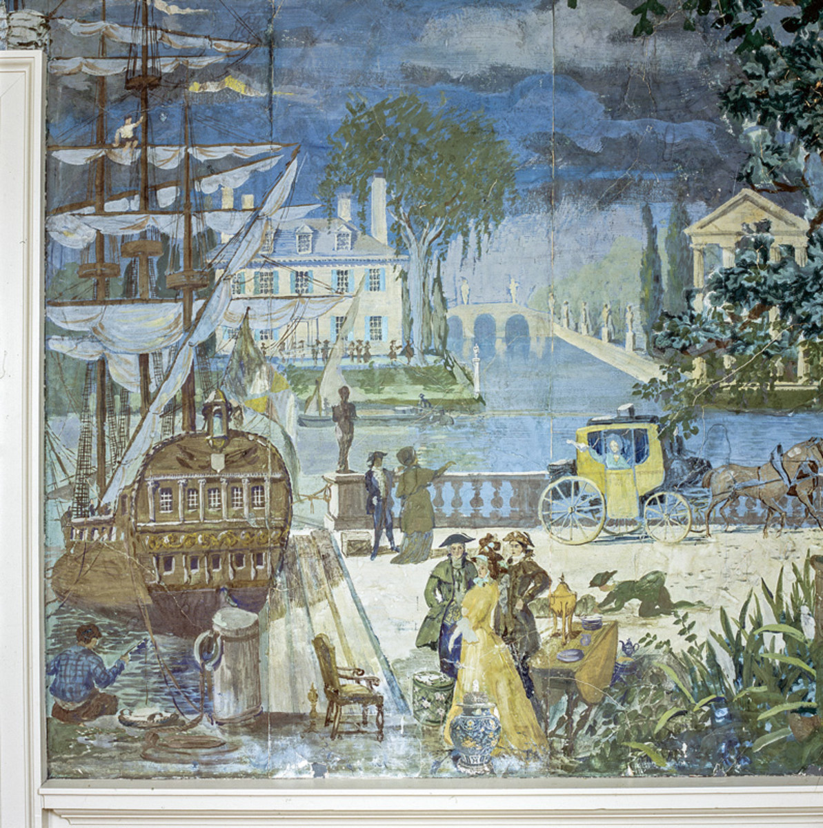 mural in Hamilton House parlor