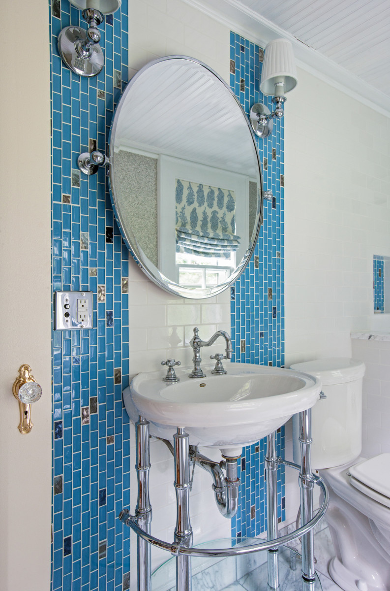 Chrome and white porcelain are the most popular looks in baths.