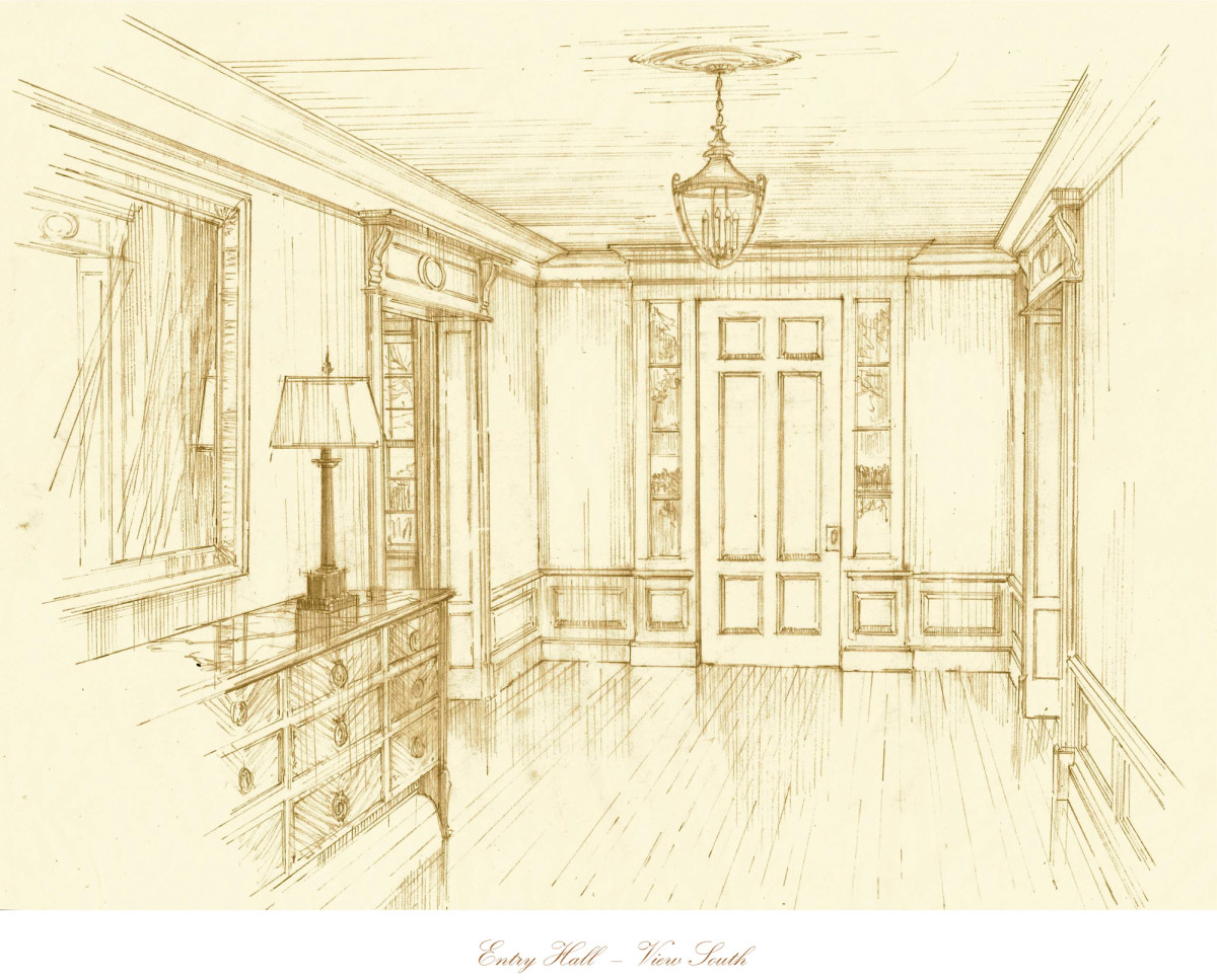 Conceptual drawing of entry hall-—pencil drawing.