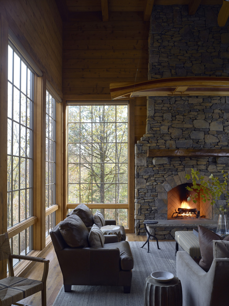 Aside from the view, the stone fireplace is the highlight of the room.