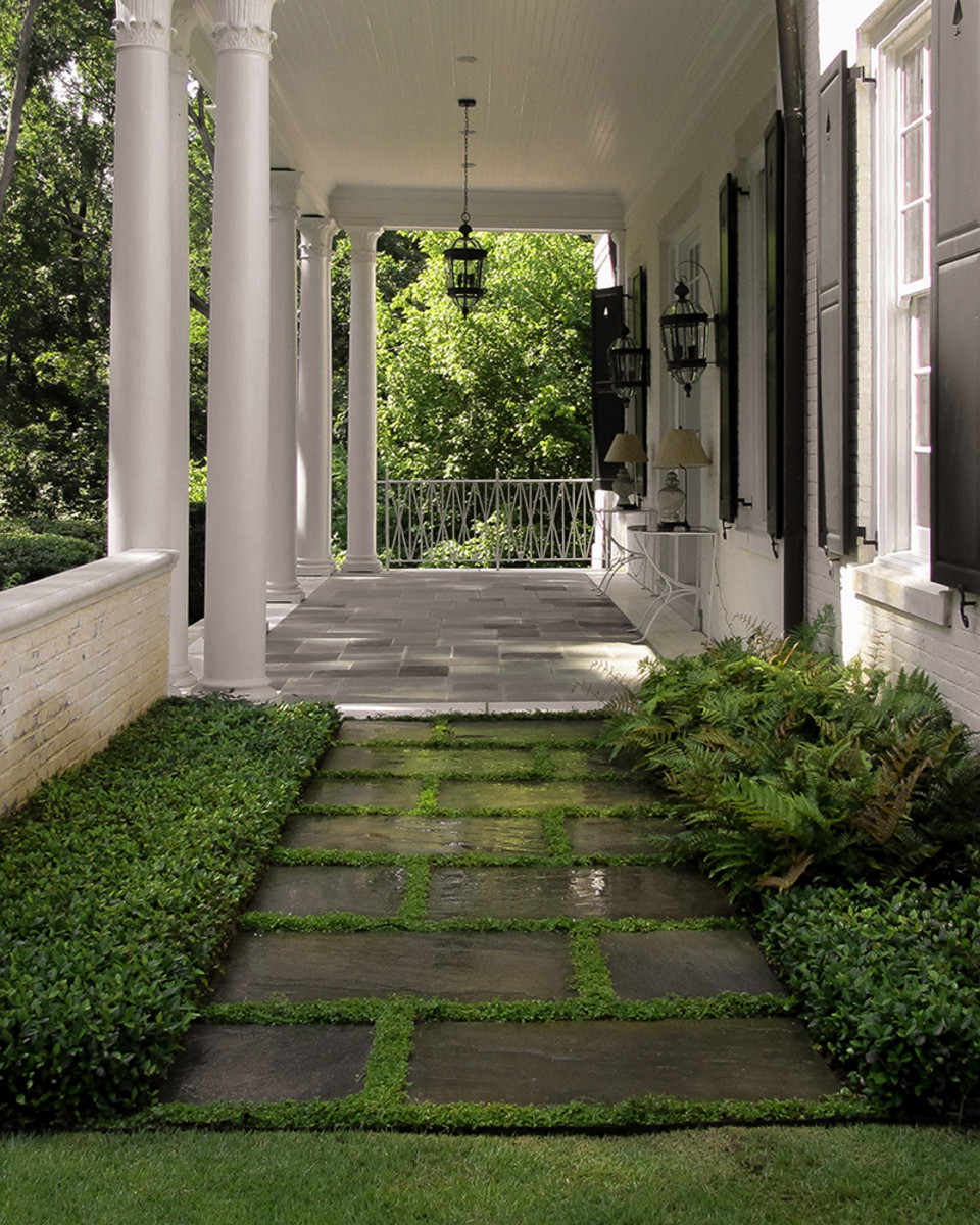 Porch with stone path.