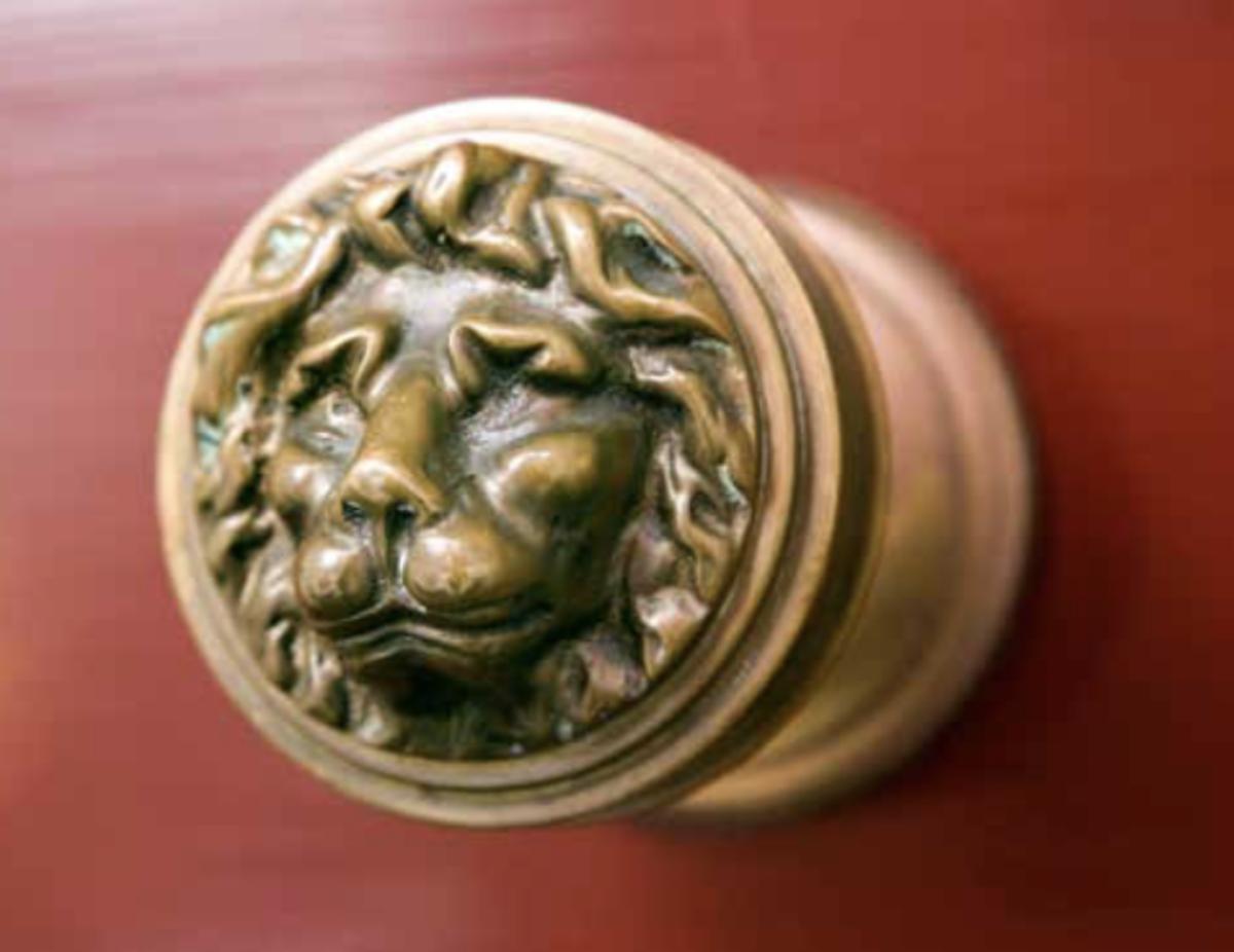 Lion door knob.