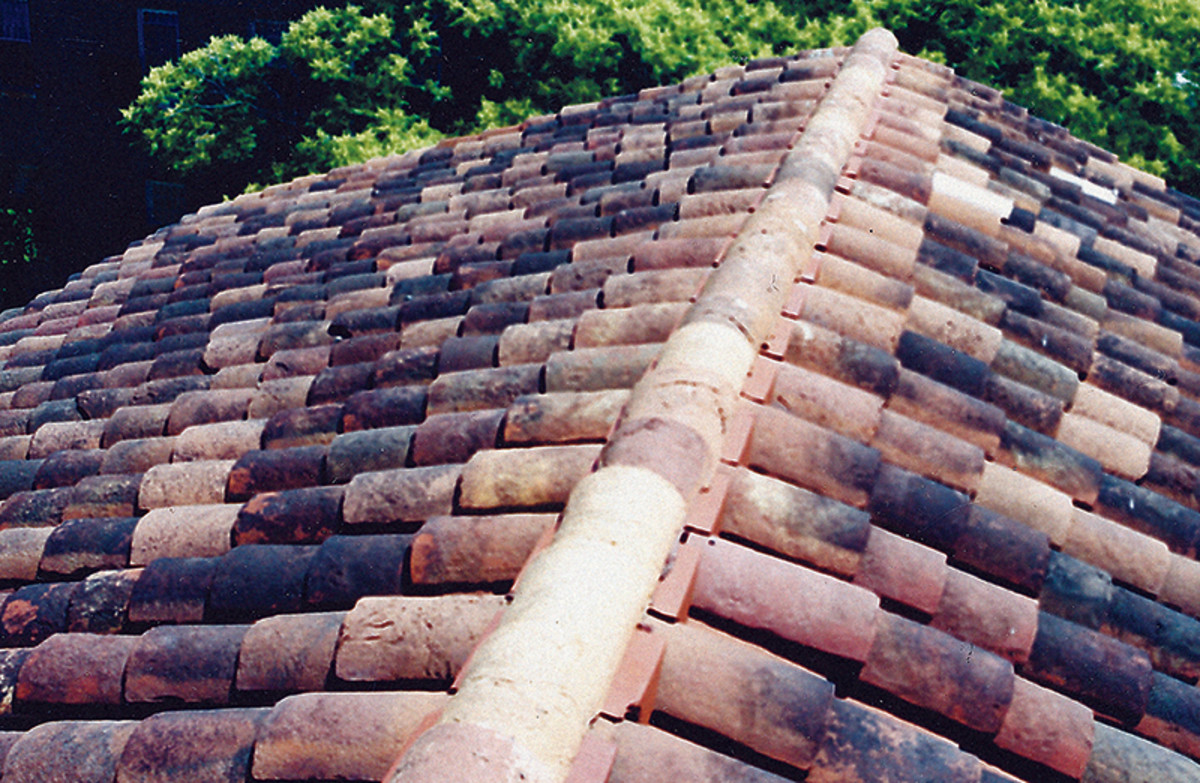 salvaged clay tile roofing