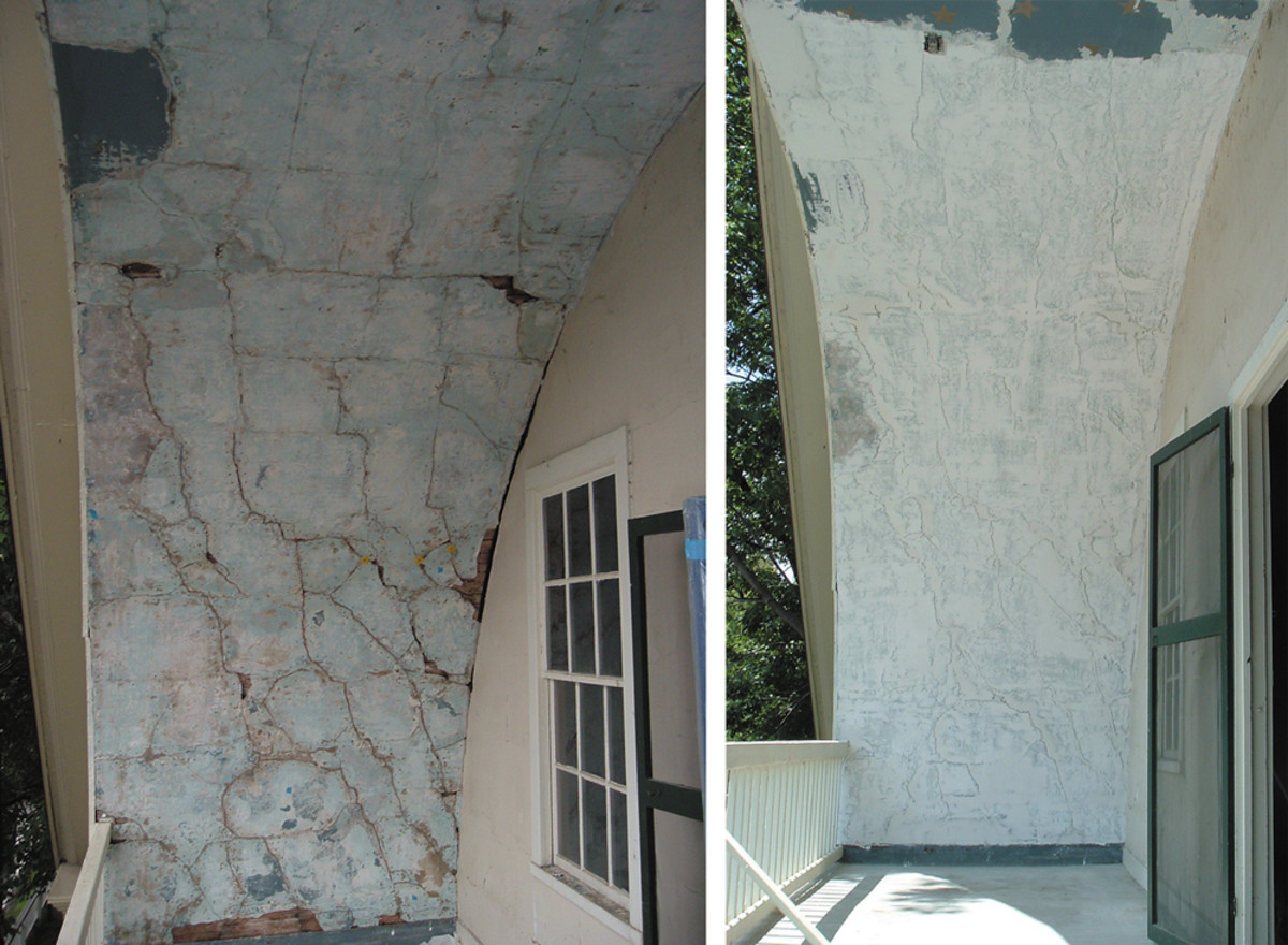 lime plaster repair before and after