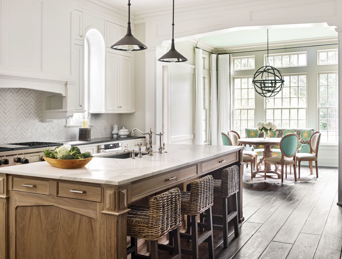 oak kitchen island with Gothic Revival motifs