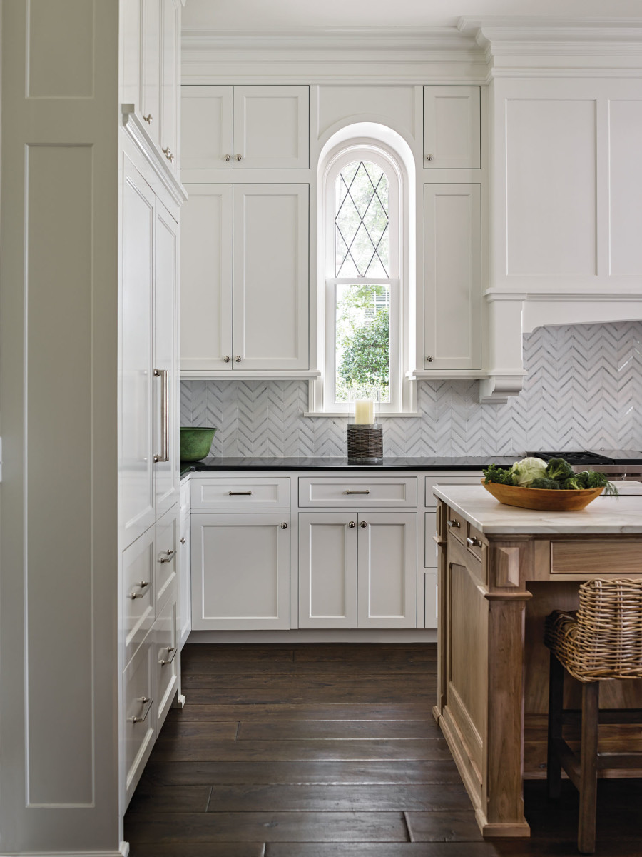 custom kitchen cabinets, dainty arched window