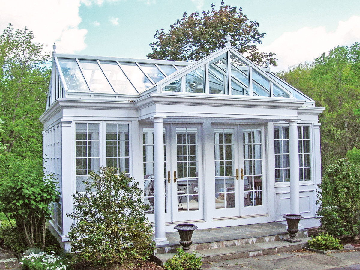 gabled, mahogany-framed conservatory by Glass House, LLC