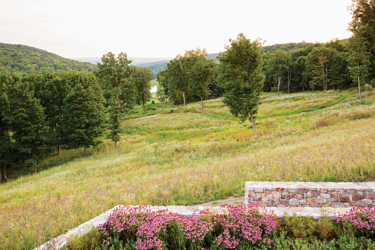 Fieldstone retaining walls at Iron Mountain House, Thomas L. Woltz design