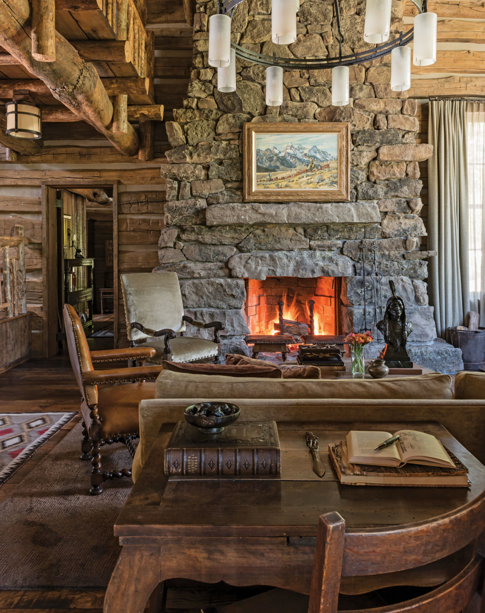 log cabin stone hearth