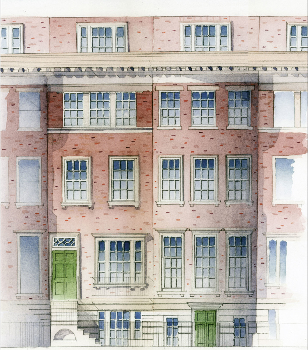 townhouse watercolor rendering, Fairfax & Sammons Architects