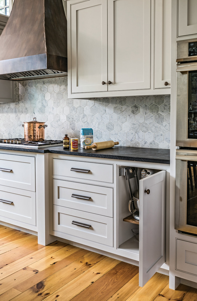 This cabinetry designed by Jewett Farms is finished in the latest kitchen color—gray.