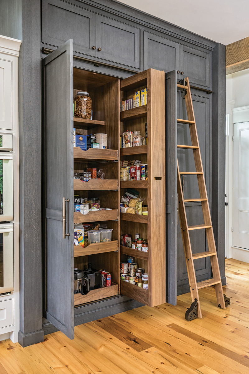 Pantry shelving is also popular in the kitchen.