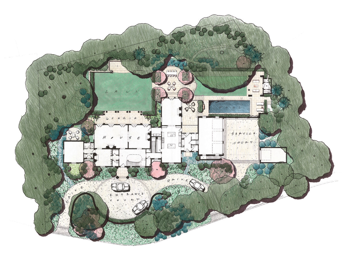 Architectural site plan for the grand home.