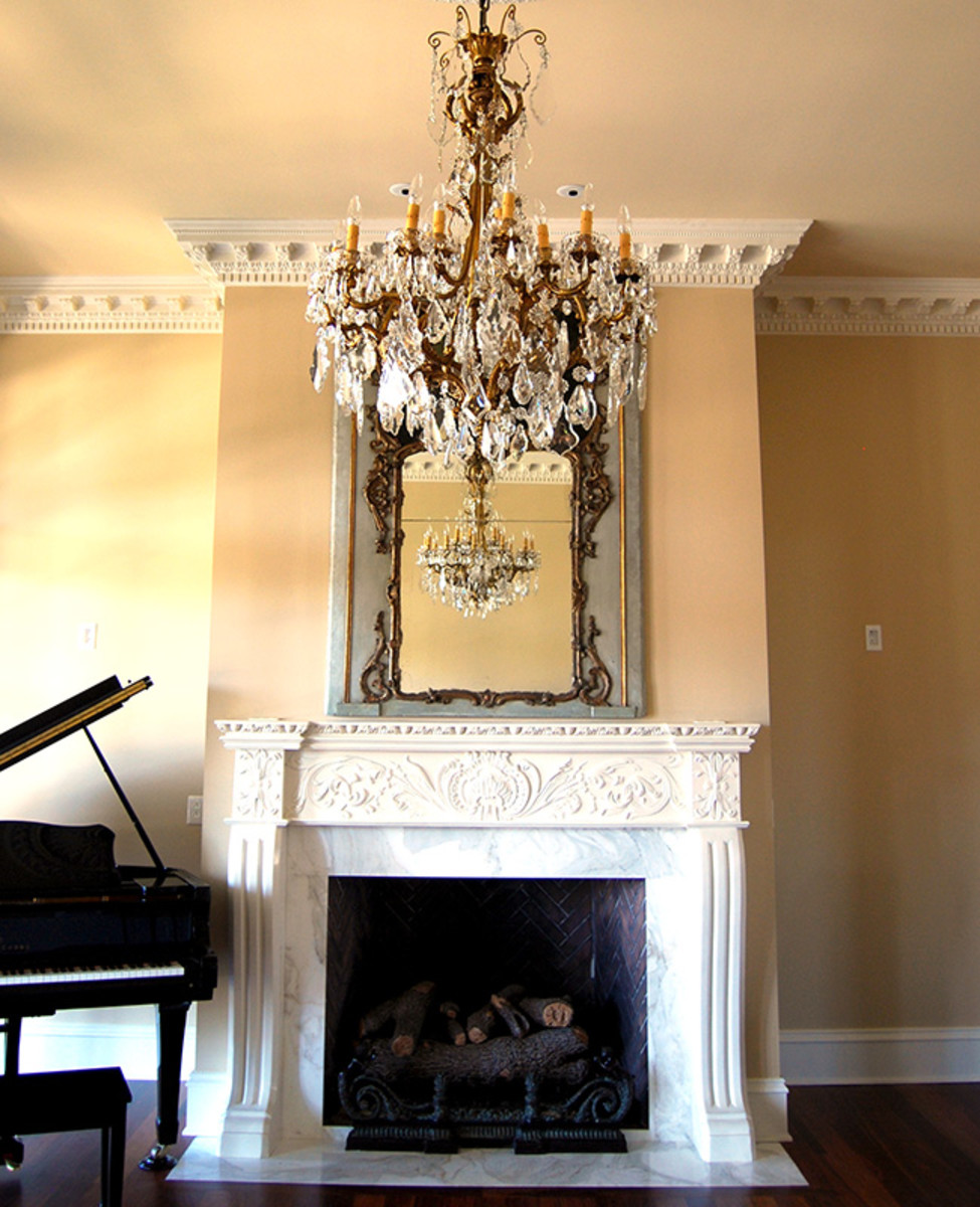 gypsum-cement cast mantel