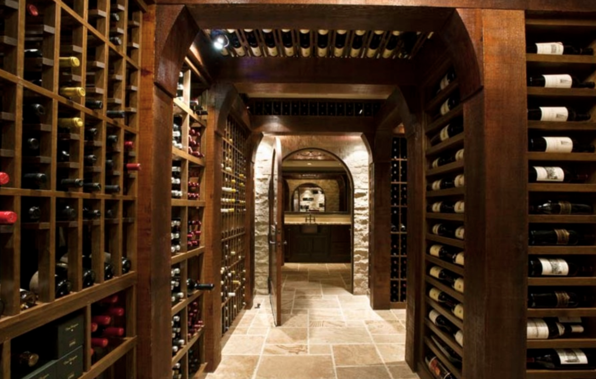 Post-and-beam custom wine cellar