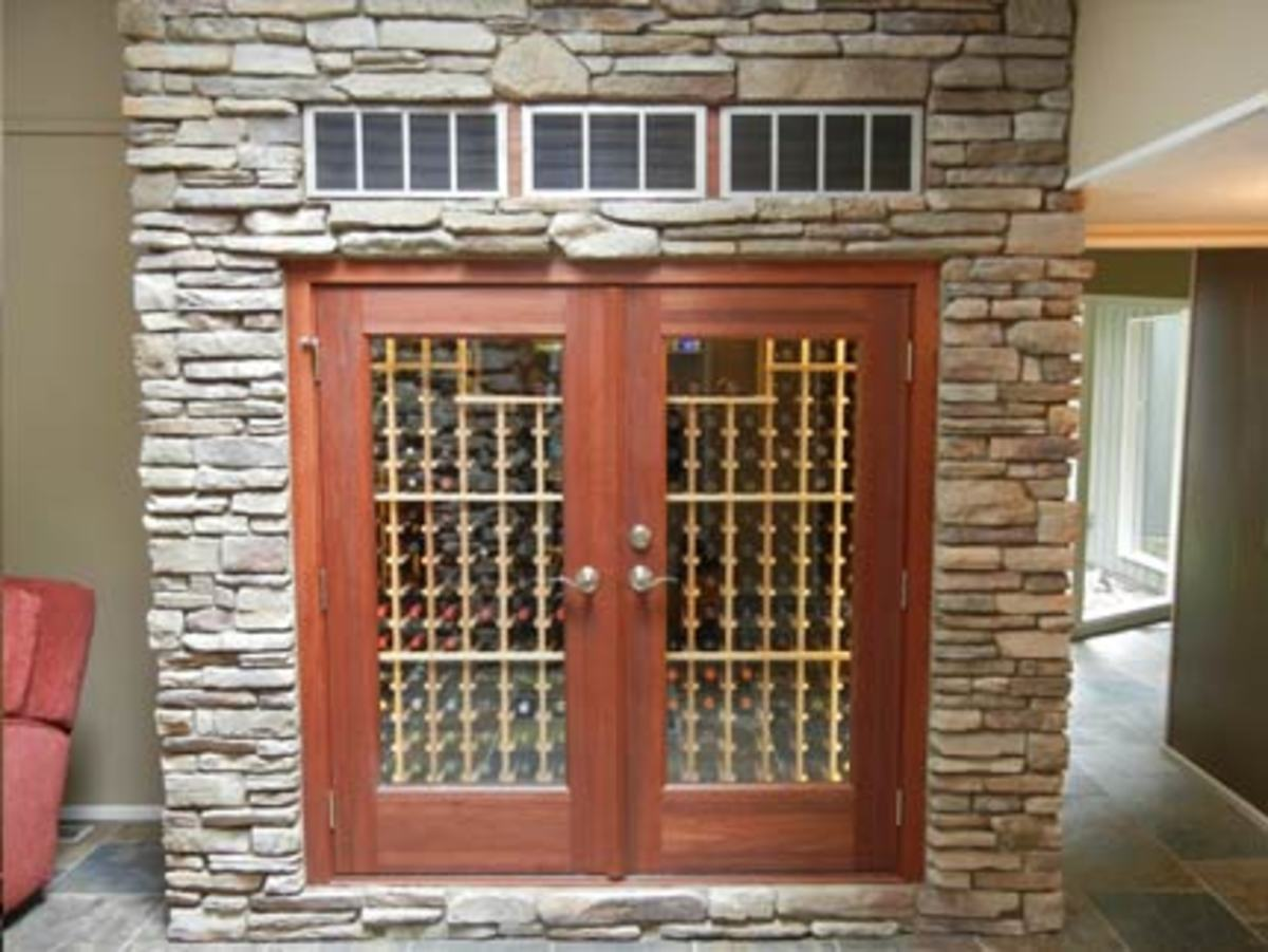 Wine Cabinet with Classy French-Door Entry