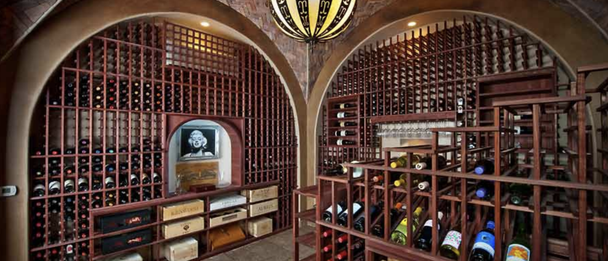 Traditionally-styled wine cellar