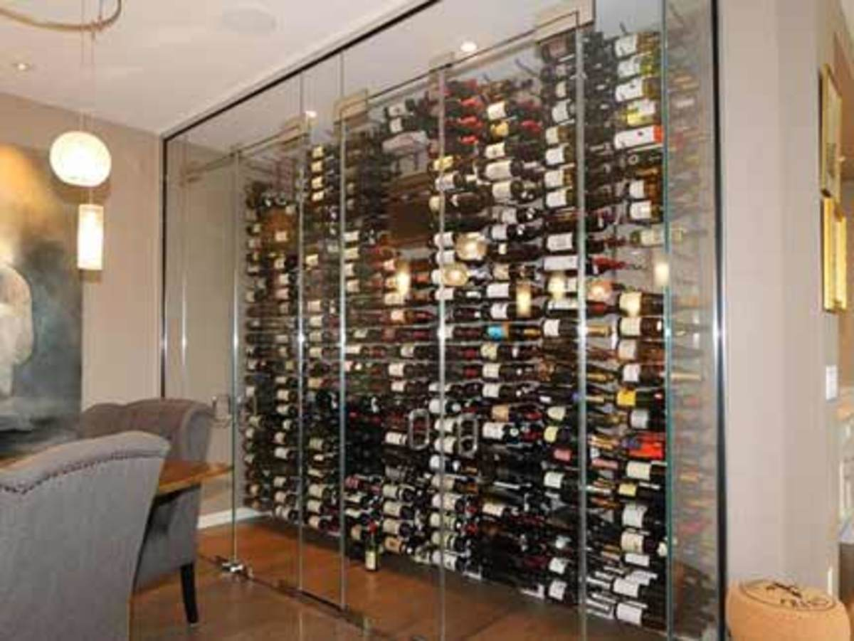 glass door wine cellar