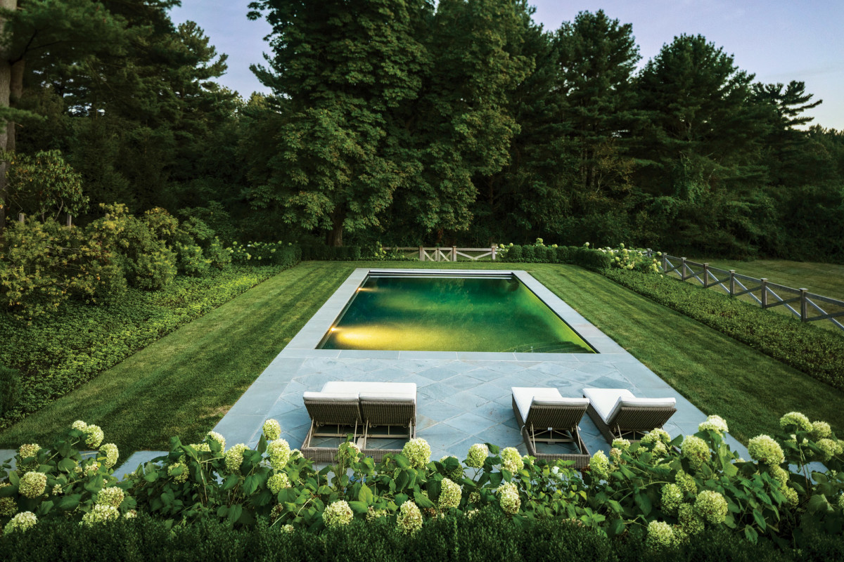 Pool and garden at Charles River Estate