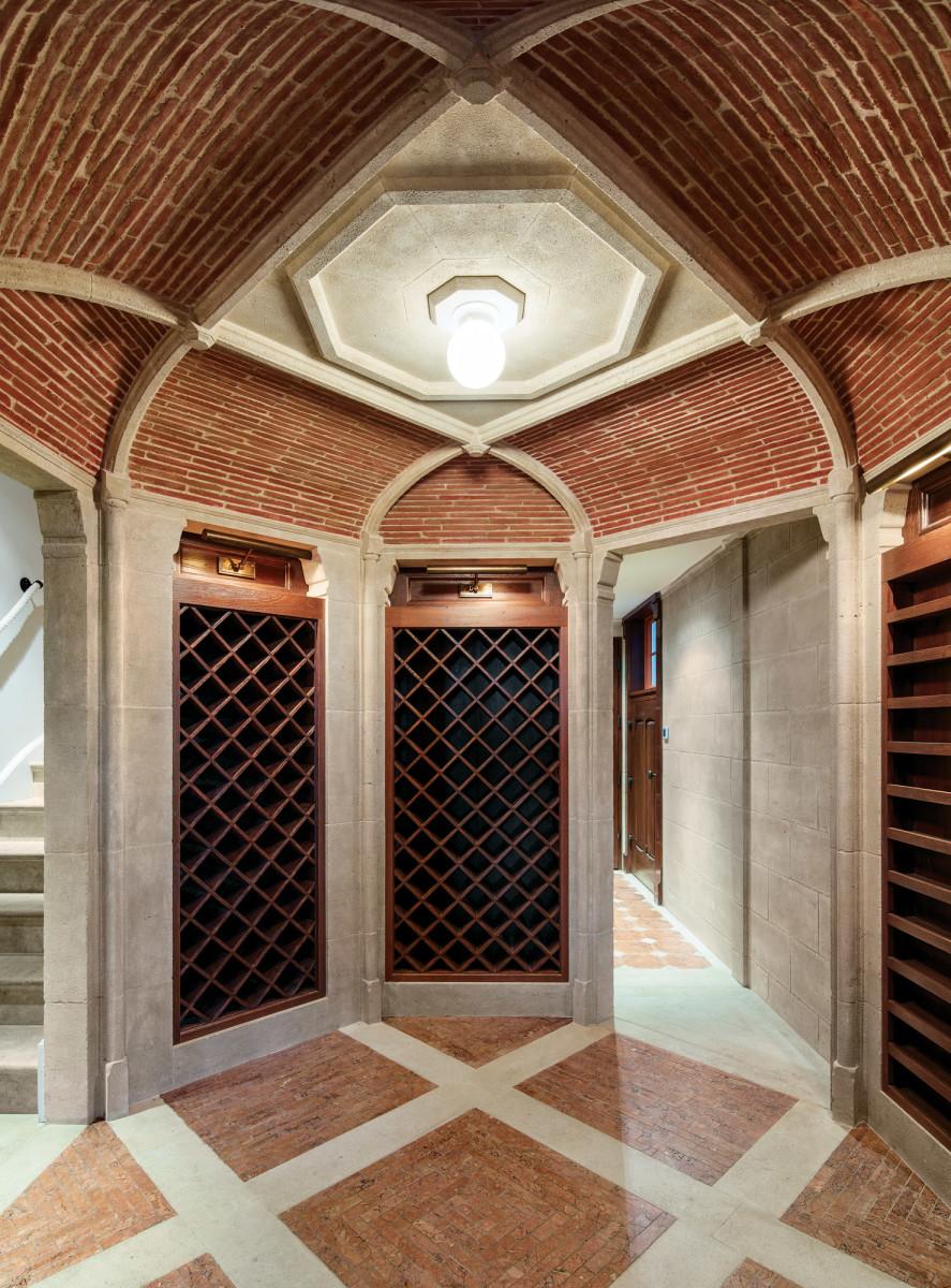 brick and limestone wine cellar