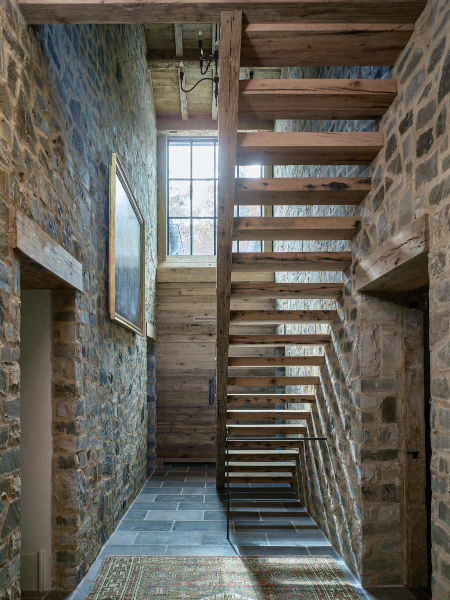 open-wood stairway