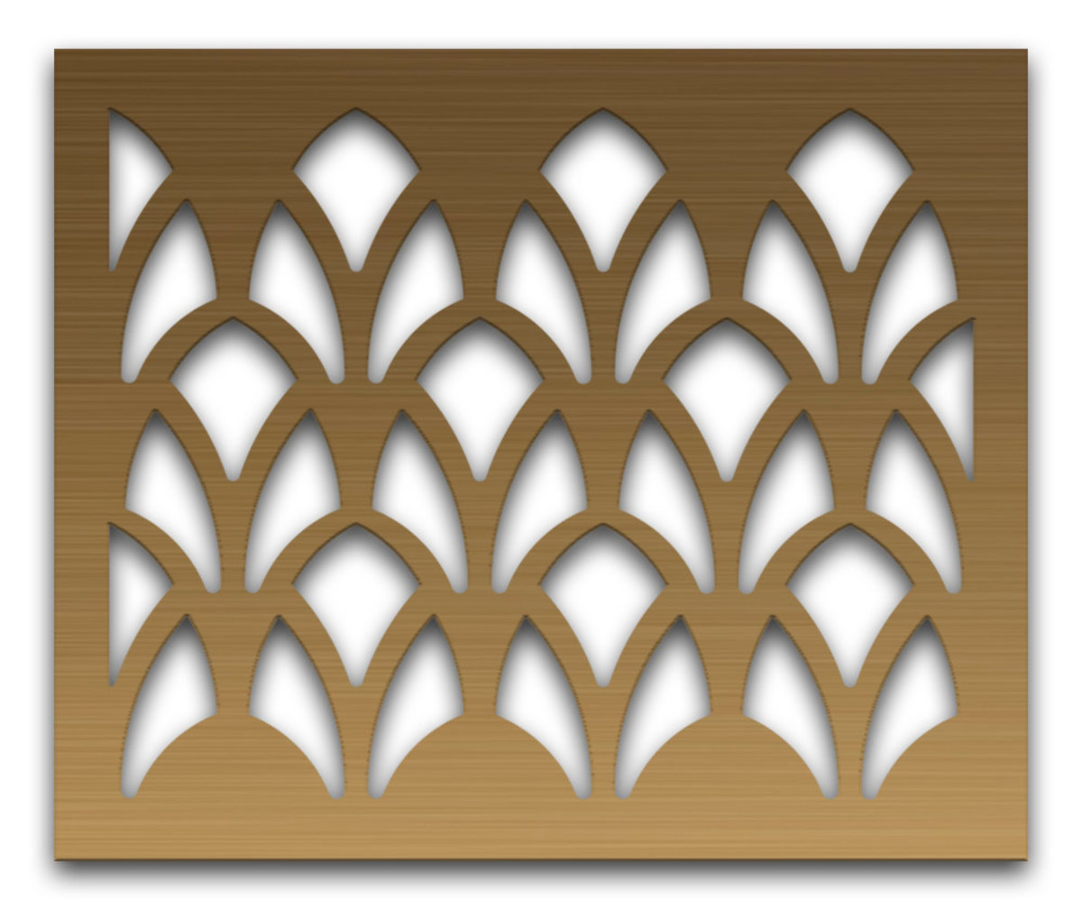 "Advanced Architectural Grillework's ""Cathedral"" design perforated metal grill."