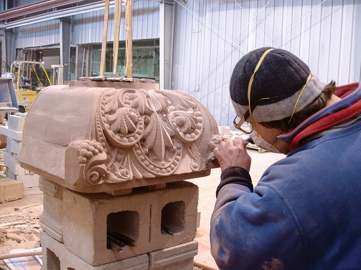 stone carver working