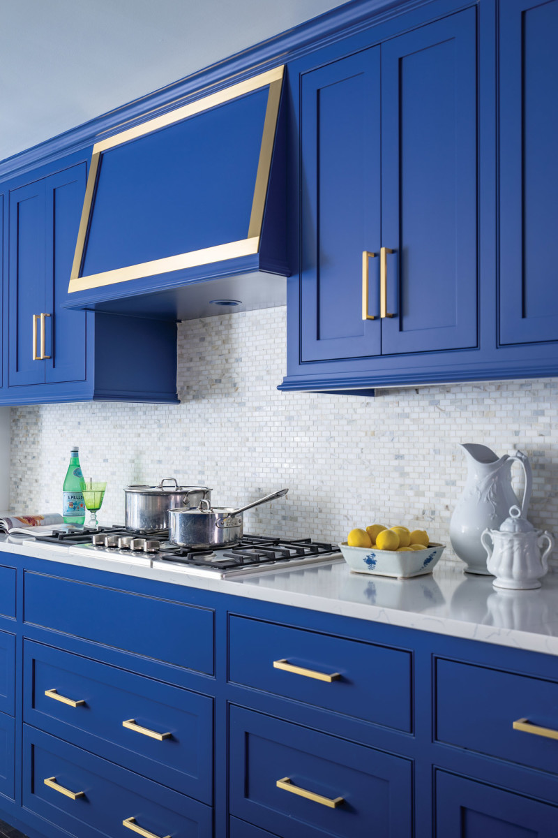 Custom-built cabinetry in 'Drawing Room Blue'