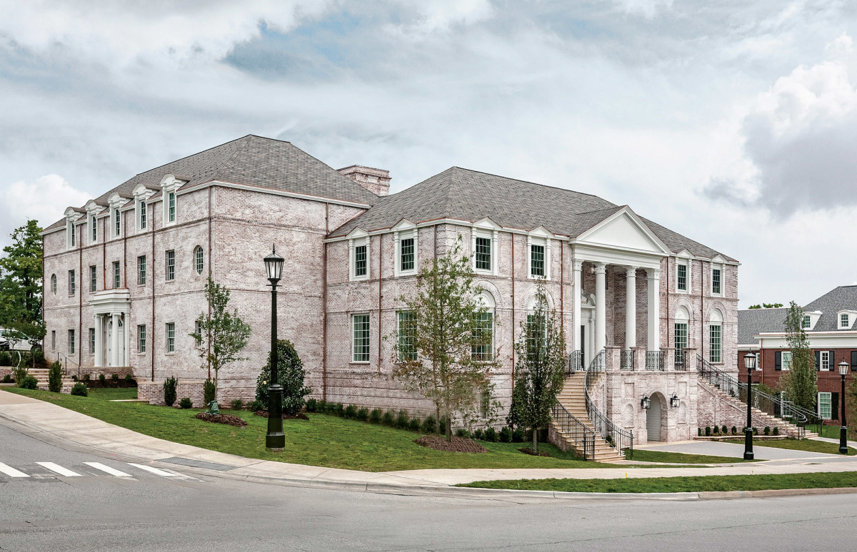 Phi Mu Fraternity's new sorority house at the University of Arkansas, designed by Michael G. Imber Architects, presents graceful proportions and traditional detailing.