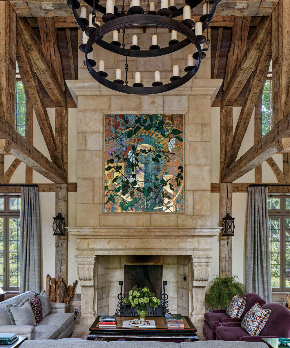 Camargue stone fireplace