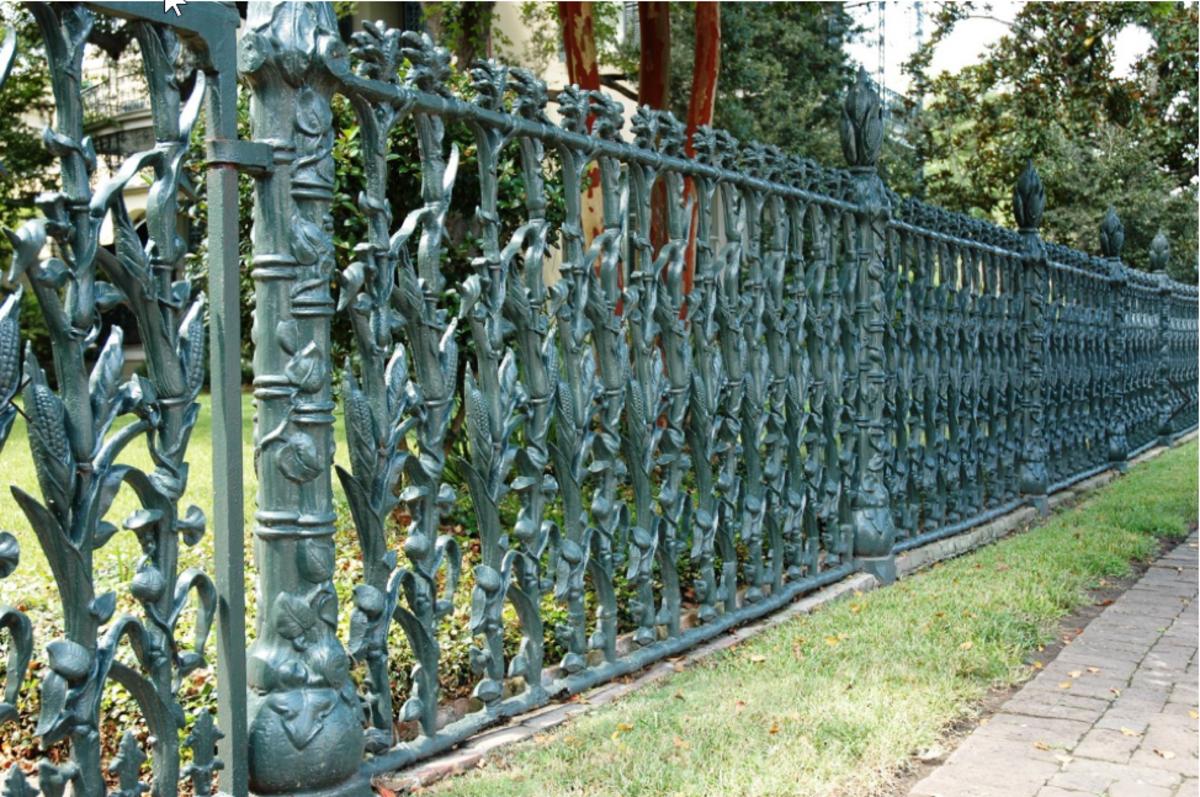 "Original ""Cornstalk"" Cast Iron Fence, Colonel Shorts Villa, Garden District, New Orleans LA"