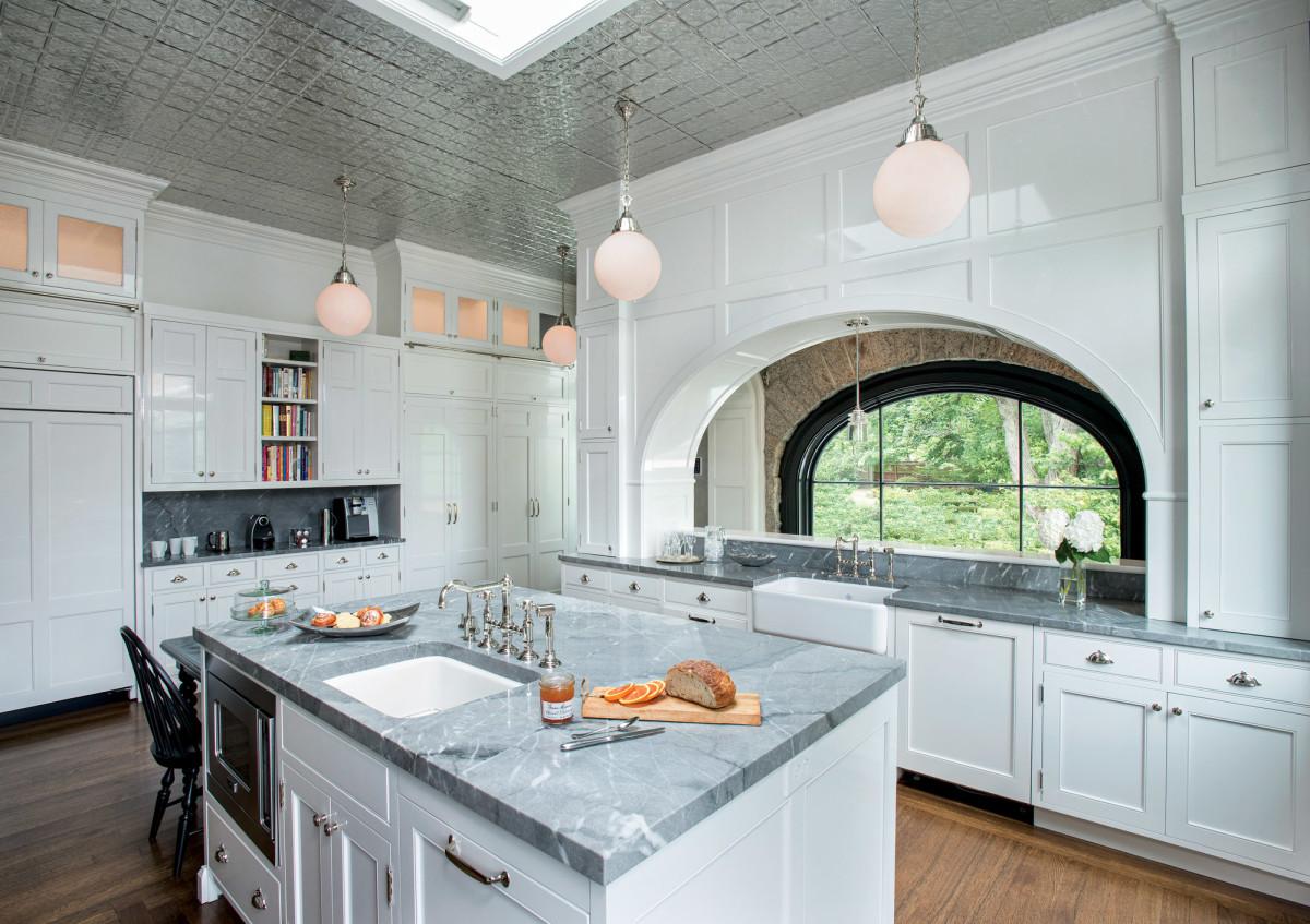 Riley mansion, renovated white kitchen