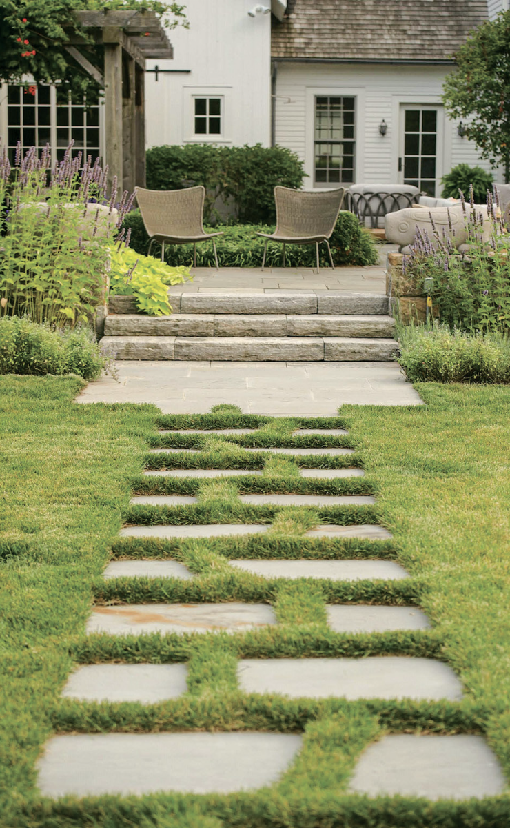 stone pathway with grass joints