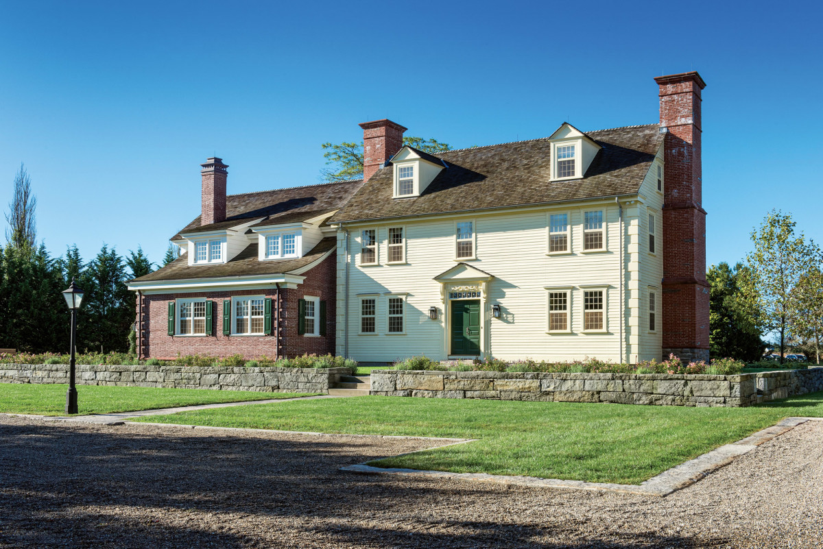 The main house at the Pendleton-Chapman Farm was restored, and the red-brick addition was built to house the long-lost banquet hall from the Sparhawk Mansion.