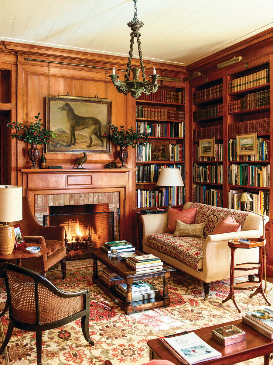 pine paneled library